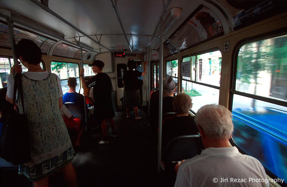 CZECH REPUBLIC PRAGUE JUL00 - Passengers inside a Prague tram. Trams are an integral part of Prague's public transport system. . . jre/Photo by Jiri Rezac. . © Jiri Rezac 2000. . Tel:   +44 (0) 7050 110 417. Email: info@jirirezac.com. Web:   www.jirirezac.com