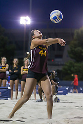 April 6, 2018 - Tucson, AZ, U.S. - TUCSON, AZ - APRIL 06: Arizona State Sun Devils Samantha Plaster (44) hits the ball during a college beach volleyball match between the Arizona State Sun Devils and the Arizona Wildcats on April 06, 2018, at Bear Down Beach in Tucson, AZ. Arizona defeated Arizona State 4-1. (Photo by Jacob Snow/Icon Sportswire (Credit Image: © Jacob Snow/Icon SMI via ZUMA Press)