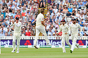 Wicket - Sam Curran of England celebrates taking the wicket of Hardik Pandya of India during second day of the Specsavers International Test Match 2018 match between England and India at Edgbaston, Birmingham, United Kingdom on 2 August 2018. Picture by Graham Hunt.
