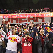 New York Red Bulls fans celebrate the last minute goal from Bradley Wright-Phillips which gave their side a 2-1 victory during the New York Red Bulls V Sporting Kansas City, Major League Soccer Play Off Match at Red Bull Arena, Harrison, New Jersey. USA. 30th October 2014. Photo Tim Clayton