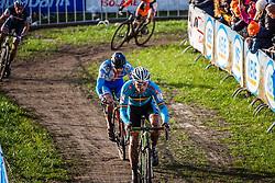 Sven NYS (1,BEL) & Zdenek STYBAR (40,CZE) leading, 3rd lap at Men UCI CX World Championships - Hoogerheide, The Netherlands - 2nd February 2014 - Photo by Pim Nijland / Peloton Photos