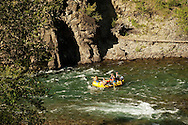 Rafters, family, floating, Middle Fork of Flathead River, southern border of Glacier National Park, Montana