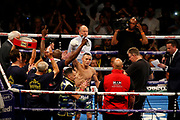 Josh Warrington acknowledges the crowd before the IBF World Featherweight Championship between Josh Warrington and Kid Galahad at First Direct Arena, Leeds, United Kingdom on 15 June 2019.