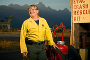 PRICE CHAMBERS / NEWS&amp;GUIDE<br /> Kathy Clay is Wyoming's first female fire marshal. Jackson Hole Fire/EMS officials promoted her to the position in 2010 after she volunteered for the organization begining in 2002. Clay said she learned how to deal with men at an early age, driving tractors and working in the field on her family's farm in Ottawa, Ill. She also was a regular competitor in her town's Friday night trapshoot, starting at age 12. &quot;My dad always wanted a son,&quot; she said.