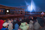 Light show at the welcoming party to Austria in Tulln for M.S. Johann Strauss, a brand new four star+ river cruiser operated by Austrian River Cruises, and chartered by Club 50 (a travel agency especially for seniors aged 50 and up) undertook an epic 3-week journey (May 21 to June 10, 2004) all the way from Amsterdam to the Black Sea?along Rhine, Main and Danube?, presumably the first passenger vessel ever to have done so. This is one of the images recorded during this historic voyage.
