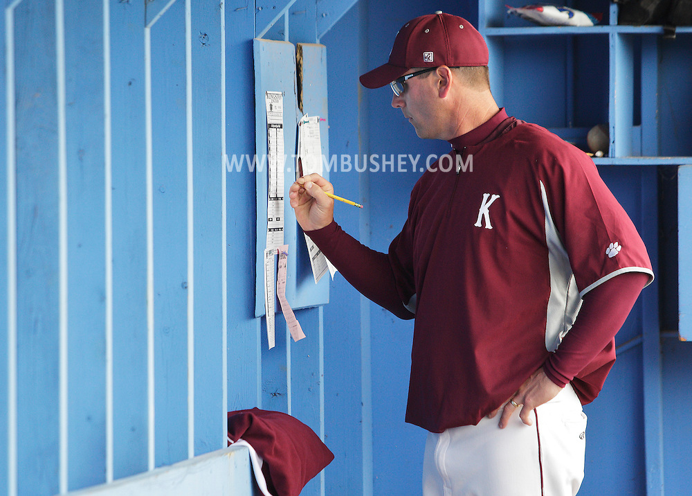 Kingston coach Mike Groppuso in the dugout during a state Class AA quarterfinal baseball game against Horseheads at SUNY New Paltz on Tuesday, June 5, 2012.