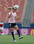 The United States' Heather Mitts heads a ball during pregame warmups on Saturday, May 12th, 2007 at Pizza Hut Park in Frisco, Texas. The United States Women's National Team defeated Canada 6-2 in a women's international friendly.
