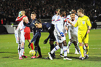 Zlatan Ibrahimovic / Contestation Lyon / Clement TURPIN - 08.02.2015 - Lyon / Paris Saint Germain - 24eme journee de Ligue 1<br /> Photo : Jean Paul Thomas / Icon Sport