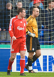 BOLTON, ENGLAND - Sunday, March 2, 2008: Liverpool's Jamie Carragher and goalkeeper Jose Pepe Reina look dejected after Bolton Wanderers score a consolation goal during the Premiership match at the Reebok Stadium. (Photo by David Rawcliffe/Propaganda)