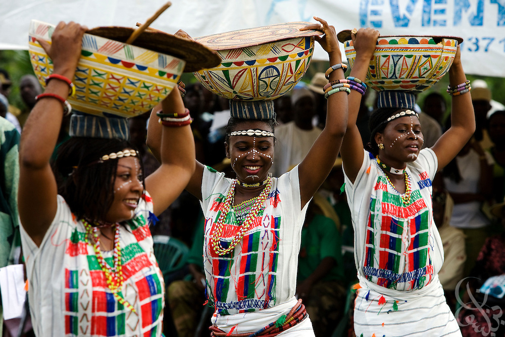 "An African dance group performs at a public tree planting ceremony sponsored by the Abuja Green Society in association with the ThisDay ""Africa Rising"" Festival July 11, 2008 at the Abuja Central Park in Abuja, Nigeria. Celebrity guests of the festival, Supermodel Naomi Campbell and fashion designer Ozwald Boateng planted trees at the event, drawing attention to African environmental issues and providing an opportunity to project a positive image of Africa as part of the festival's larger focus."