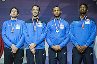Equipe France / Gauthier Grumier / Ronan Gustin / Daniel Jerent / Ulrich Robeiri - 03.05.2015 - Challenge SNCF Reseau - Coupe du Monde Epee messieurs<br />