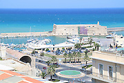 elevated view of the Venetian fortress of Rocca al Mare, in the old port, Heraklion, Crete Island, Greece