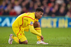 LONDON, ENGLAND - Saturday, February 14, 2015: Liverpool's Daniel Sturridge ties his boot laces during the FA Cup 5th Round match against Crystal Palace at Selhurst Park. (Pic by David Rawcliffe/Propaganda)