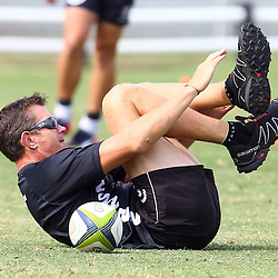 DURBAN, SOUTH AFRICA, Friday 15, January 2016 - Ryan Strudwick (Assistant Coach) of the Cell C Sharks during The Cell C Sharks Pre Season training Friday 145h January 2016,for the 2016 Super Rugby Season at Growthpoint Kings Park in Durban, South Africa. (Photo by Steve Haag)<br /> images for social media must have consent from Steve Haag