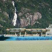 The cargo ship Star Juventas moored at the Squamish Terminals pier.  Squamish BC, Canada.