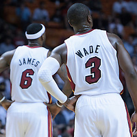 17 November 2010: Miami Heat's shooting guard #3 Dwyane Wade is seen next to Miami Heat's small forward #6 LeBron James during the Miami Heat 123-96 victory over the Phoenix Suns at the AmericanAirlines Arena, Miami, Florida, USA.