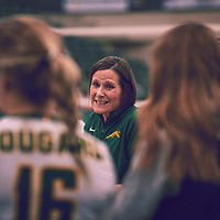 Head Coach, Melanie Sanford of the Regina Cougars during the Women's Volleyball home game on Thu Nov 15 at Centre for Kinesiology, Health & Sport. Credit: Arthur Ward/Arthur Images