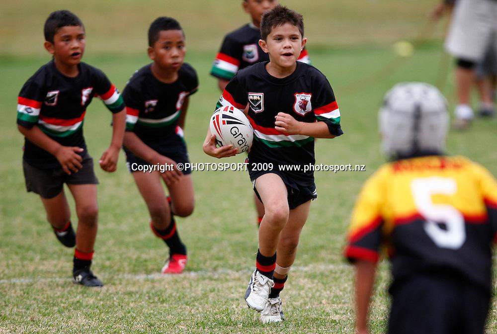 Kids participate. Rugby League. NZRL's Kids 2 Kiwis initiative. Otahuhu Rugby League Club, Henham Park, Auckland. Sunday 1st February 2009. Photo: Simon Watts/PHOTOSPORT