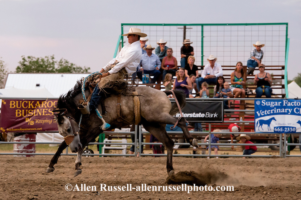 Will James Roundup, Ranch Rodeo, Ranch Bronc Riding, Quinn Larson, Hardin, Montana