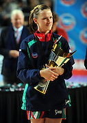 Grand Final MVP, Vixen co-captain <br /> Sharelle McMahon with Championship trophy<br /> Netball -  2009 ANZ Championship Grand Final<br /> Melbourne Vixens vs Adelaide Thunderbirds<br /> Hisense Arena, Melbourne<br /> Sunday, 26 July 2009<br /> © Sport the library / Jeff Crow