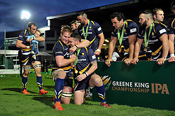 GJ van Velze of Worcester Warriors celebrates with team-mate Ryan Lamb - Photo mandatory by-line: Patrick Khachfe/JMP - Mobile: 07966 386802 27/05/2015 - SPORT - RUGBY UNION - Worcester - Sixways Stadium - Worcester Warriors v Bristol Rugby - Greene King IPA Championship Play-off Final (Second leg)