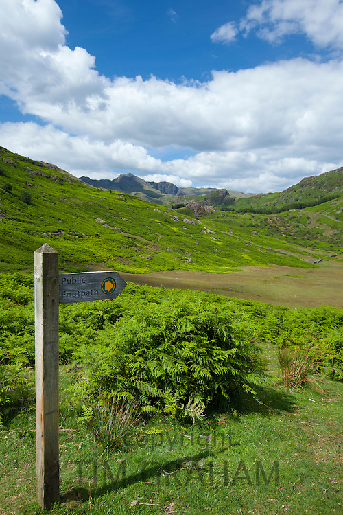 Public Footpath sign by Langdale Pass in the Lake District National Park, Cumbria, UK