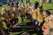 FODBOLD: Jublende Brøndby-spillere efter kampen i 3F Ligaen mellem Brøndby IF og Fortuna Hjørring den 11. maj 2019 på Brøndby Stadion. Foto: Claus Birch