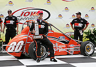 05 MAY 2007: Billy Wease (80) of Western Speed Racing celebrates his midget car win in victory lane at the Casey's General Stores USAC Triple Crown at the Iowa Speedway in Newton, Iowa on May 5, 2007.