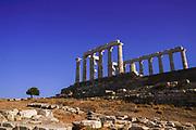 Ruins of temple of Poseidon at Cape Sounion, Attica Peninsula, Greece
