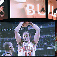 21 December 2009: Chicago Bulls center Joakim Noah is seen on the main screen during the Sacramento Kings 102-98 victory over the Chicago Bulls at the United Center, in Chicago, Illinois, USA.