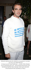 PRINCE NICKOLAS OF GREECE at a party in London on 2nd July 2002.	PBO 24