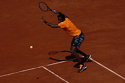 June 5, 2017 - Paris, France - Gael Monfils of France plays a backhand shot during his match with Stan Wawrinka of Switzerland on Day Nine at Roland Garros on June 5, 2017 in Paris, France. (Credit Image: © Mehdi Taamallah/NurPhoto via ZUMA Press)