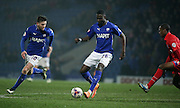 Jay O'Shea and Manu Dieseruvwe link up for Chesterfield during the Sky Bet League 1 match between Chesterfield and Gillingham at the b2net stadium, Chesterfield, England on 17 March 2015. Photo by Glenn Ashley.