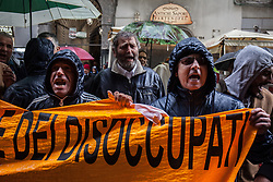 April 29, 2019 - Naples, Italy - Protests outside the San Nazzaro of Naples theater of unemployed, Naples, Italy April 29,2019 during a press Conference of PD's party leader Nicola Zingaretti. (Credit Image: © Paolo Manzo/NurPhoto via ZUMA Press)