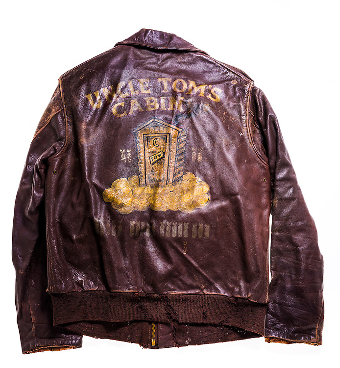 "The A-2 ""bomber jacket"" of Walter Hood Thomason of Atlanta, Georgia.  Uncle Tom's Cabin was the name of the B-17 he piloted."