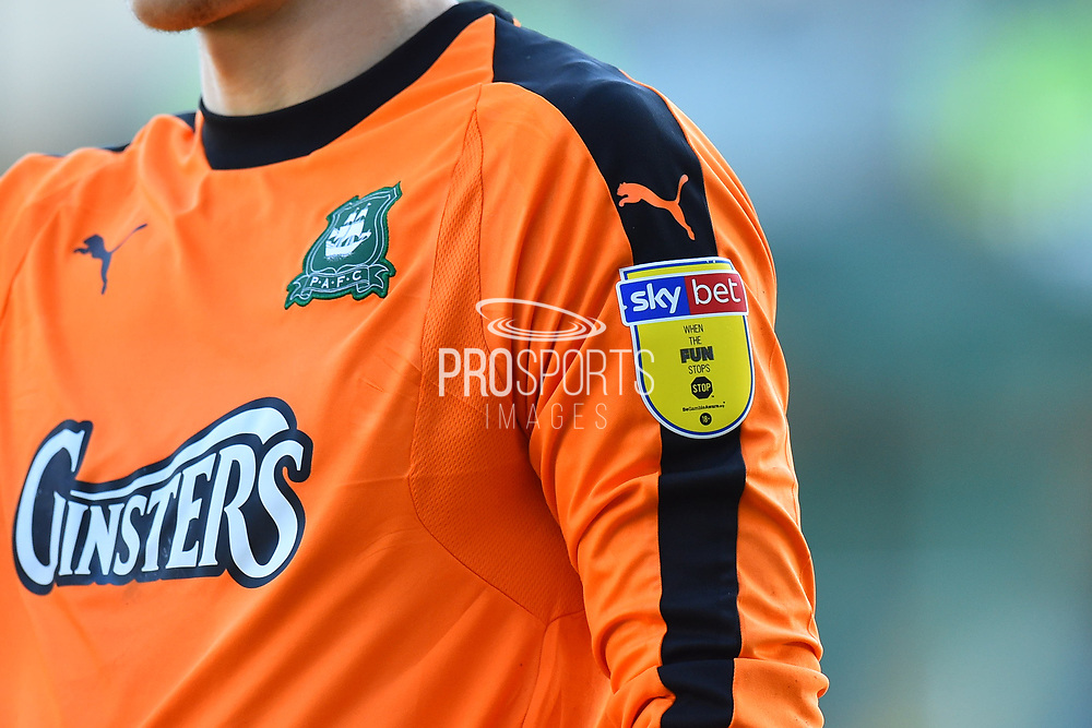 Sky Bet sleeve patch on the shirt of Matt Macey (1) of Plymouth Argyle during the EFL Sky Bet League 1 match between Plymouth Argyle and Burton Albion at Home Park, Plymouth, England on 20 October 2018.