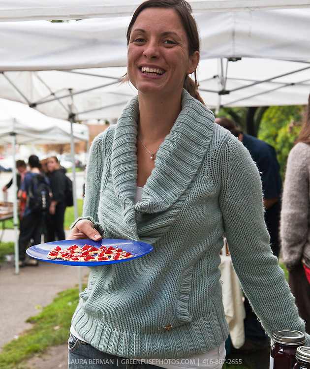 Blythe  of Growing Spaces  with her delicious homemade organic preserves, pickles, jams, jellies and chutneys at the Dufferin Grove Organic Farmers' Market.