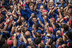 November 20, 2016 - Barcelona, Catalonia, Spain - A young member of the 'Castellers de la Vila de Gracia' celebrate one of their human towers during a 'diada castellera' at Barcelona's Gracia quarter (Credit Image: © Matthias Oesterle via ZUMA Wire)
