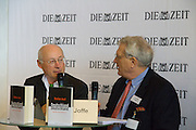 "Buchmesse Frankfurt, biggest book fair in the World. Stefan Aust speaking with Josef Joffe/Die Zeit about his new Book ""Deutschland, Deutschland""."