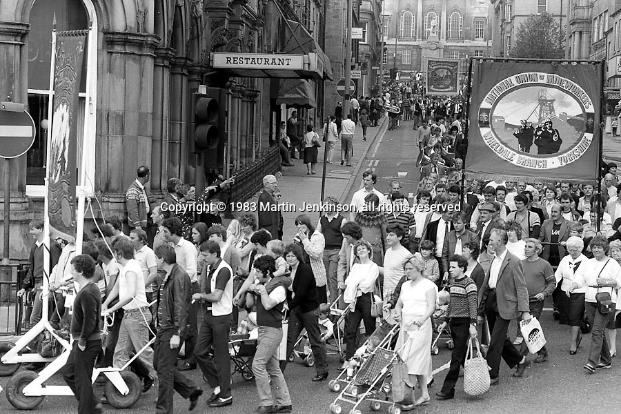 Wheldale banner, 1983 Yorkshire Miner's Gala. Barnsley
