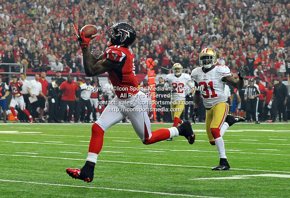 Jan. 20, 2013 - Atlanta, GA, USA - Atlanta Falcons wide receiver Julio Jones reels in pass for a first-quarter touchdown against the San Francisco 49ers during the NFC Championship game at the Georgia Dome on Sunday, January 20, 2013, in Atlanta, Georgia. The San Francisco 49ers defeated the Atlanta Falcons, 28-24