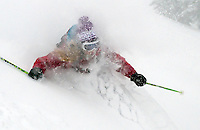 Jess McMillan of Kelly takes in a face full of powder while skiing the Teton Pass backcountry.