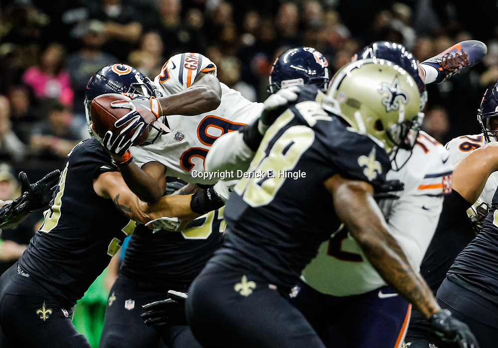 Oct 29, 2017; New Orleans, LA, USA; Chicago Bears running back Tarik Cohen (29) dives for a touchdown against the New Orleans Saints during the second half of a game at the Mercedes-Benz Superdome. The Saints defeated the Bears 20-12. Mandatory Credit: Derick E. Hingle-USA TODAY Sports