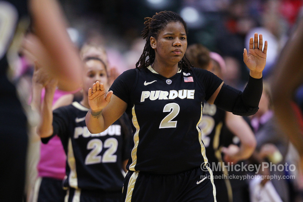 March 03, 2012; Indianapolis, IN, USA; Purdue Boilermakers guard Antionette Howard (2) high fives a teammate during a timeout against the Penn State Lady Lions during the semifinals of the 2012 Big Ten Tournament at Bankers Life Fieldhouse. Purdue defeated Penn State 68-66. Mandatory credit: Michael Hickey-US PRESSWIRE