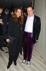 ISABEL GOLDSMITH and DETMAR BLOW at a dinner hosted by Arnaud Bamber MD of Cartier, Amanda Sharp and Matthew Slotover Directors of the Frieze Art Fair to celebrate artists featured in the 2005 Frieze Art Fair Curatorial Programme at Nobu-Berkeley, 15th Berkeley Street, London on 21st October 2005.<br />