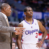 25 October 2013: Los Angeles Clippers head coach Doc Rivers talks to Los Angeles Clippers point guard Chris Paul (3) during the Sacramento Kings 110-100 victory over the Los Angeles Clippers at the Staples Center, Los Angeles, California, USA.