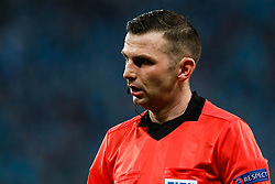 February 21, 2019 - Saint Petersburg, Russia - Referee Michael Oliver looks on during the UEFA Europa League Round of 32 second leg match between FC Zenit Saint Petersburg and Fenerbahce SK on February 21, 2019 at Saint Petersburg Stadium in Saint Petersburg, Russia. (Credit Image: © Mike Kireev/NurPhoto via ZUMA Press)