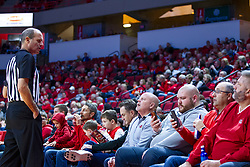 NORMAL, IL - November 29: John Hampton chats with fans seated alongside the court during a college basketball game between the ISU Redbirds and the Prairie Stars of University of Illinois Springfield (UIS) on November 29 2019 at Redbird Arena in Normal, IL. (Photo by Alan Look)