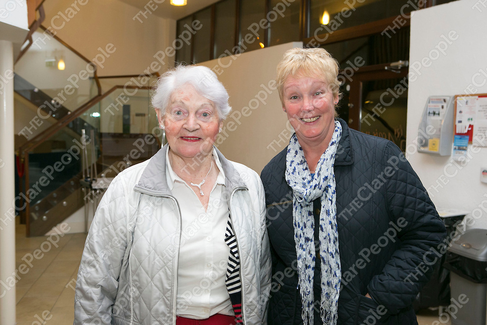 Pictured at the Ennis Singers Club Fundraiser for Cancer in Clare were:<br /> Margaret Griffen &amp; Mary Griffen.<br /> Pictured Credit Brian Gavin Press 22