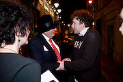 BARRY HUMPHRIES; JASPER BRITTON, party after the press night of 'The Last Cigarette' at  the Trafalgar Studios. Party at Walkers, Craig's Court, Whitehall. London.  28 April 2009